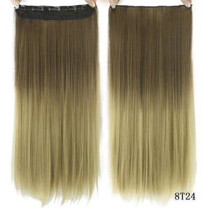 60 cm Long Straight Clip in Hair Extensions Synthetic Hair Piece - 1B/Silver Grey / 24inches