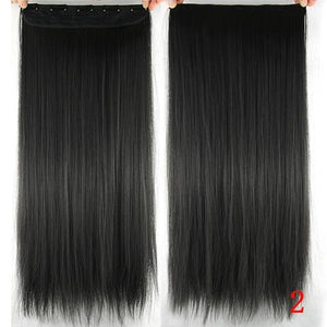60 cm Long Straight Clip in Hair Extensions Synthetic Hair Piece - #2 / 24inches
