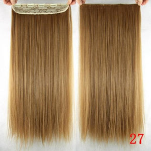 60 cm Long Straight Clip in Hair Extensions Synthetic Hair Piece - #27 / 24inches