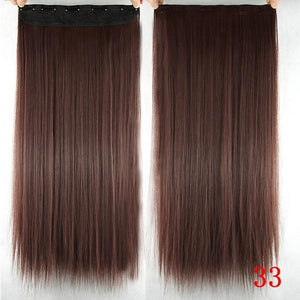 60 cm Long Straight Clip in Hair Extensions Synthetic Hair Piece - #33 / 24inches