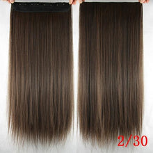 Load image into Gallery viewer, 60 cm Long Straight Clip in Hair Extensions Synthetic Hair Piece - 4/30HL / 24inches