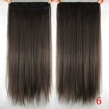 Load image into Gallery viewer, 60 cm Long Straight Clip in Hair Extensions Synthetic Hair Piece - #6 / 24inches