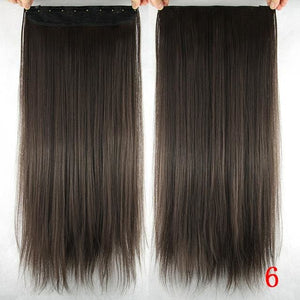 60 cm Long Straight Clip in Hair Extensions Synthetic Hair Piece - #6 / 24inches
