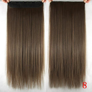 60 cm Long Straight Clip in Hair Extensions Synthetic Hair Piece - #8 / 24inches