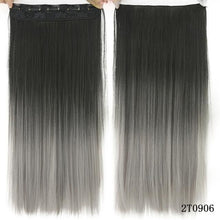 Load image into Gallery viewer, 60 cm Long Straight Clip in Hair Extensions Synthetic Hair Piece - Blonde / 24inches