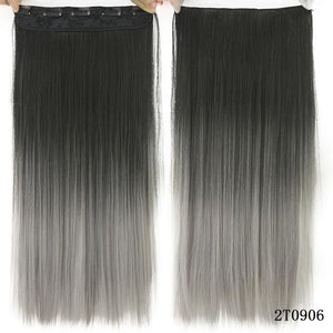 60 cm Long Straight Clip in Hair Extensions Synthetic Hair Piece - Blonde / 24inches