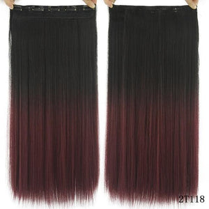 60 cm Long Straight Clip in Hair Extensions Synthetic Hair Piece - Coffee / 24inches