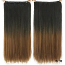 Load image into Gallery viewer, 60 cm Long Straight Clip in Hair Extensions Synthetic Hair Piece - Gold / 24inches