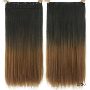 60 cm Long Straight Clip in Hair Extensions Synthetic Hair Piece - Gold / 24inches