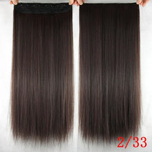 Load image into Gallery viewer, 60 cm Long Straight Clip in Hair Extensions Synthetic Hair Piece - NC/4HL / 24inches