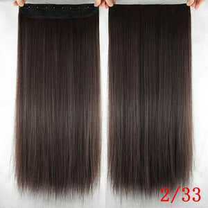 60 cm Long Straight Clip in Hair Extensions Synthetic Hair Piece - NC/4HL / 24inches