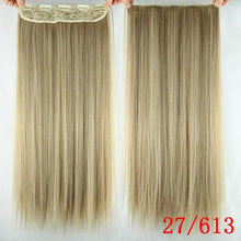 Load image into Gallery viewer, 60 cm Long Straight Clip in Hair Extensions Synthetic Hair Piece - P27/613 / 24inches