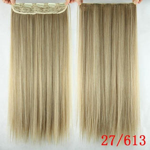 60 cm Long Straight Clip in Hair Extensions Synthetic Hair Piece - P27/613 / 24inches