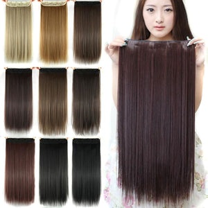 60 cm Long Straight Clip in Hair Extensions Synthetic Hair Piece