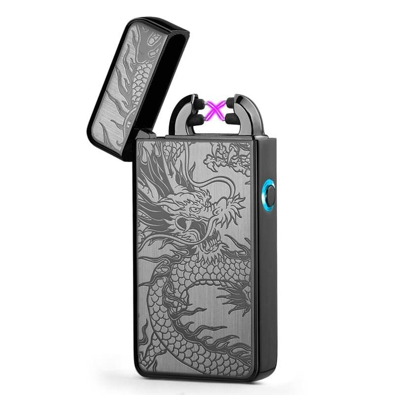 Double Arc Lighter plasma Electronic Pulse With Dragon Design - 1