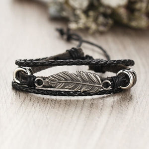 Handmade Multi layer Braided Leather Bracelet - Bracelets