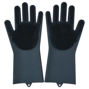 Magic Silicone Washing Gloves - black