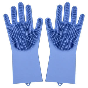 Magic Silicone Washing Gloves - blue