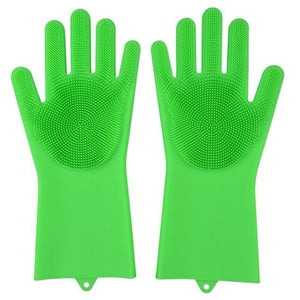 Magic Silicone Washing Gloves - Grass Green