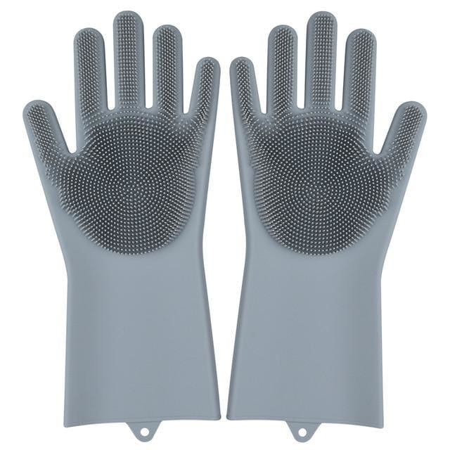 Magic Silicone Washing Gloves - grey