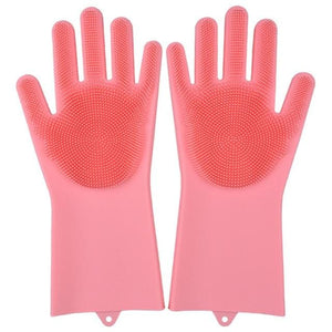 Magic Silicone Washing Gloves - pink