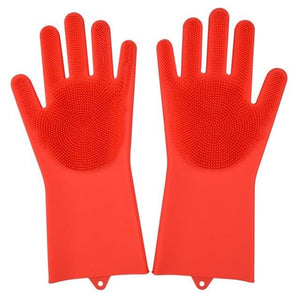 Magic Silicone Washing Gloves - red