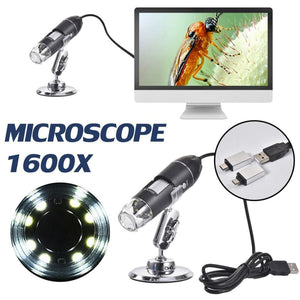 Mega Pixels 1600X 8 LED Digital Microscope Type-C/Micro For Android phone USB For PC Magnifier Electronic Stereo USB Endoscope C