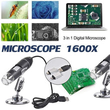 Load image into Gallery viewer, Mega Pixels 1600X 8 LED Digital Microscope Type-C/Micro For Android phone USB For PC Magnifier Electronic Stereo USB Endoscope C