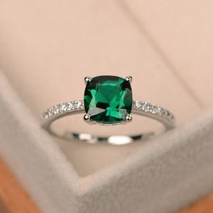 Square Crystal Ring with Different Color and Sizes - 10 / GR