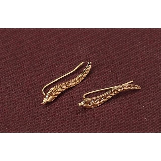 Vintage Jewelry Exquisite Gold/silver Leaf Earrings - Gold