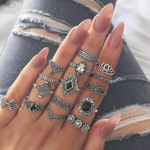 Vintage Knuckle Rings - 15PC 3Black Lotus - Rings