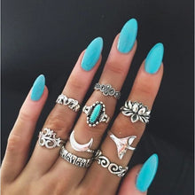 Load image into Gallery viewer, Vintage Knuckle Rings - N10-Set9 Turquoise - Rings