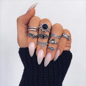 Vintage Knuckle Rings - N16-Set9 2Black Hear - Rings
