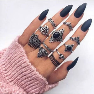 Vintage Knuckle Rings - Set10 Black Palm - Rings