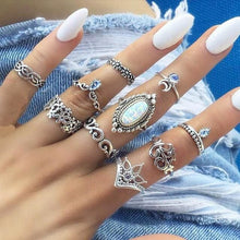 Load image into Gallery viewer, Vintage Knuckle Rings - Set10 White Stone - Rings