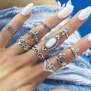 Vintage Knuckle Rings - Set10 White Stone - Rings