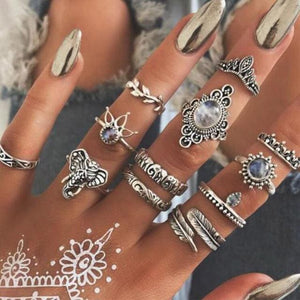 Vintage Knuckle Rings - Set12 Feather - Rings