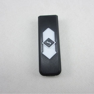 Windproof Flameless USB Windproof Charging Lighter - black white