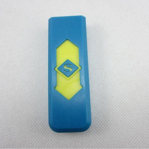 Windproof Flameless USB Windproof Charging Lighter - blue yellow