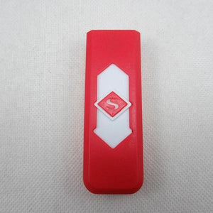 Windproof Flameless USB Windproof Charging Lighter - red white
