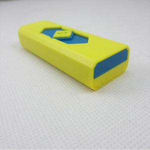 Windproof Flameless USB Windproof Charging Lighter - yellow blue