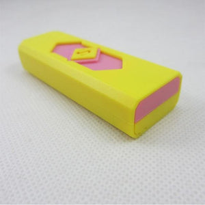 Windproof Flameless USB Windproof Charging Lighter - yellow pink