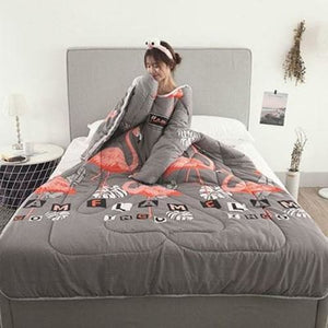 Winter Lazy Quilt with Sleeves - gray bird / 120X160CM