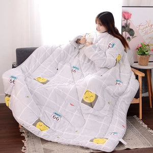 Winter Lazy Quilt with Sleeves - gray Smile / 120X160CM