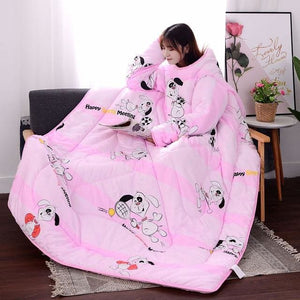 Winter Lazy Quilt with Sleeves - pink dog / 120X160CM