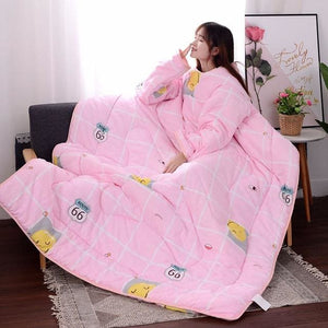 Winter Lazy Quilt with Sleeves - pink Smile / 120X160CM
