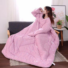 Load image into Gallery viewer, Winter Lazy Quilt with Sleeves - pink whale / 120X160CM