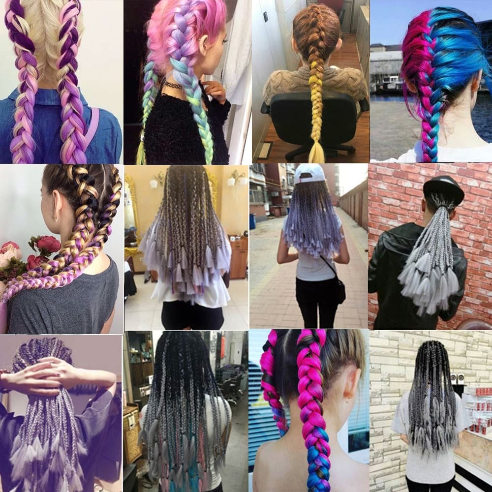 LISI HAIR Ombre Kanekalon Jumbo Synthetic Braiding Hair Crochet Blonde Pink Blue Grey Hair Extensions Jumbo Braids Hairstyles