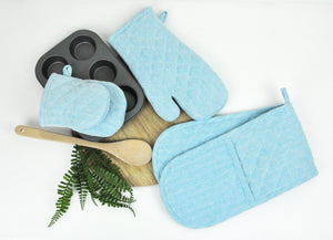 2PC RANS Herringbone Oven Gloves 100% Cotton