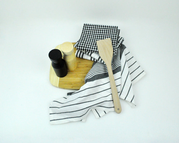 RANS Milan Tea Towels 5 Piece Set Check & Stripe Designs